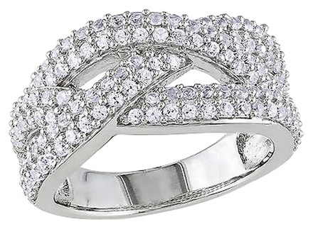 Other Sterling Silver 1 14 Ct Tgw White Sapphire Crossover Fashion Ring