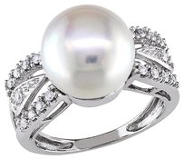 14k White Gold 18 Ct Diamond 10 - 11 Mm White Freshwater Pearl Ring Gh I1i2