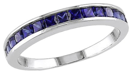 Other Sterling Silver 34 Ct Tgw Blue Sapphire Eternity Ring