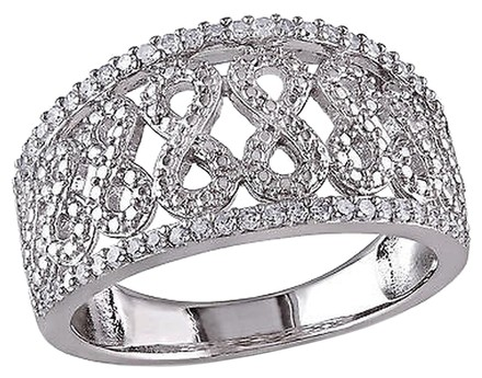 Other Sterling Silver 14 Ct Diamond Swivel Crossover Infinity Ring Band Gh I2i3