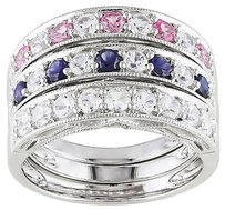 Sterling Silver 2 25 Ct Blue Sapphire White Sapphire Pink Sapphire Ring Set