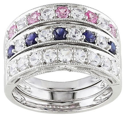 Other Sterling Silver 2 25 Ct Blue Sapphire White Sapphire Pink Sapphire Ring Set