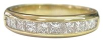 18kt Princess Cut Diamond 10-stone Band Ring Yg 1.25ct