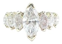 Fine Marquise Diamond Seven Stone Yellow Gold Band Ring 2.02ct