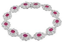 Other Sterling Silver Created Ruby Bangle Bracelet 7.25 6 Ct