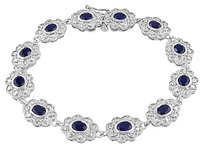 Sterling Silver Created Sapphire Bangle Bracelet 7.25 4.8 Ct