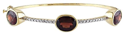 Other Yellow Gold Flashed Silver Garnet Bangle Bracelet 7 8.7 Ct