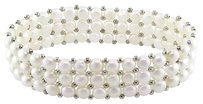 7 Triple-row 5-5.5 Mm White Freshwater Cultured Pearl Bracelet With Brass Beads