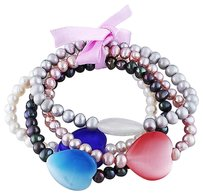 Other 4 Pce Set Of 7.5 5-5.5 Mm White Pink Black Grey Potato Pearl Elastic Bracelets