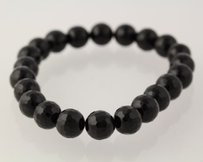 Other Beaded Bracelet - Chunky Round Black Onyx Stone Beads Stretchable Band