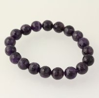 Other Beaded Bracelet - Purple Amethyst Stone Chunky Round Beads Stretchable Band