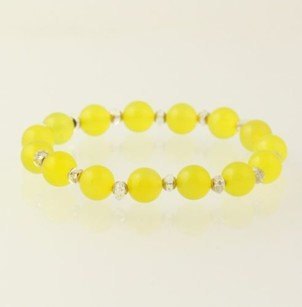 Beaded Bracelet - Yellow Chalcedony Crystal Quartz Sterling Silver Stretchy