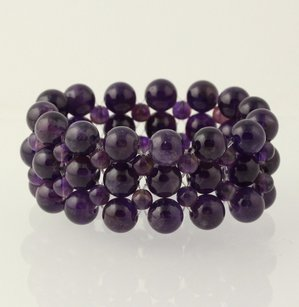 Other Beaded Chunky Bracelet - Purple Amethyst Stone Beads Mesh Stretch Band