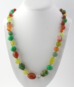 Other Beaded Colorful Gemstone Necklace Sterling Silver Carnelian Mop Adventurine