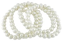 Other Set Of 4x 7.5 7-8mm Freshwater White Pearl Elastic Bracelets Pearl Grade Aaa