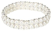 Other 7-12 6.5-7mm White Button Pearls W Silver 2mm Beads Elastic Bracelet