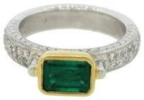 Beautiful Platinum 18k Gold 0.96ct Emerald Diamond Engagement Ring