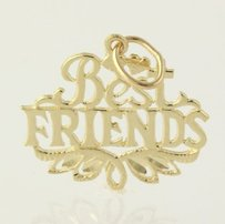 Best Friends Charm Pendant - Solid Fine 14k Yellow Gold Gift Womens Floral