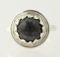 Black Jasper Ring - Sterling Silver 7.25 Round Bead Solitaire Womens