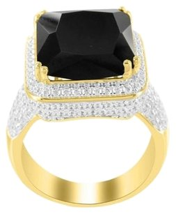 Black Onyx Gemstone Lab Diamond Mens Rick Ross Emerald Cut Sterling Silver Ring
