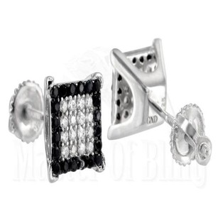 Black White Earrings Multi Color Simulated Diamond Studs In Silver Mens Screw On