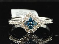 Blue Diamond Fashion Ring 10k White Gold Round Pave Star Cocktail Band 0.40 Tcw.