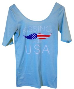 Other Scoop Neck Graphic Tees Kissing In The Usa Usa Mustache T Shirt blue