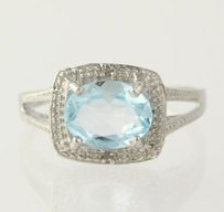 Blue Topaz Cocktail Ring - 925 Sterling Silver Band Womens Fine Estate 7.25