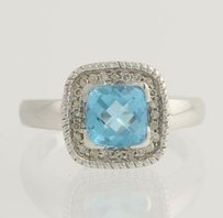 Blue Topaz Diamond Cocktail Ring - 14k White Gold Genuine 1.62ctw