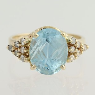 Other Blue Topaz Diamond Cocktail Ring - 14k Yellow Gold Oval Fantasy Cut 4.68ctw