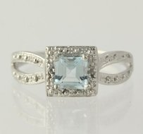 Other Blue Topaz Solitaire Ring - 925 Sterling Silver Diamond Accents Womens