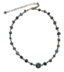 Boho Chic multi color unique stone necklace.