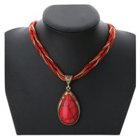 Other Boho style Red Cat's Eye Pendant Necklace