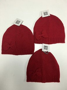 Other Boutique Set Of Red Knit Bow Detail Cold Weather Hats One B3014