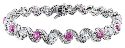 Other Sterling Silver Pink Sapphire And White Sapphire Bracelet 7.25 7.44 Ct
