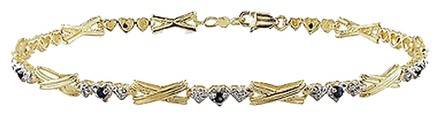 Other 10k Yellow Gold Sapphire Heart Bracelet 7.5 0.27 Ct