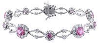 Sterling Silver Pink Sapphire And White Sapphire Bracelet 7 7.35 Ct