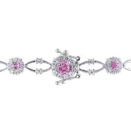 Other Sterling Silver Pink Sapphire And White Sapphire Bracelet 7 7.35 Ct