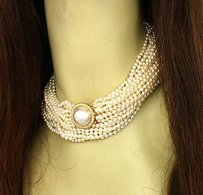 Breathtaking 14k Ygold 1ctw Diamond Multi-strand Salt Water Pearl Necklace