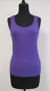 Other Chicos Solid Cotton Blend Sleeveless Scoop Neck 0 V775 Top Purple