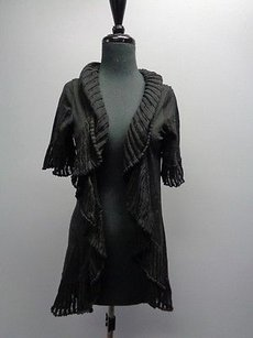 Other Coco And Capers Ruffled Open Front Short Sleeved Cardigan Sm6884 Sweater