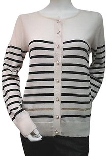 Other Topin Ivory Striped Gold Tone Faux Pearl Button Down Cardigan G124450 Sweater