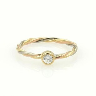 Cartier 18k Tri-color Gold Diamond Cable Twist Wire Band Ring 4.75
