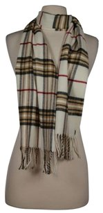 Other Cashmink V Fraas Womens One Ivory Tan Red Plaid Scarf Cashmere Blend