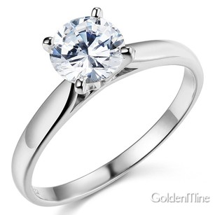 Cathedral 14k White Gold Round-cut 4-prong Solitaire Man Made Diamond Engagement Ring Sizes 4 5 6 7 8 9 10