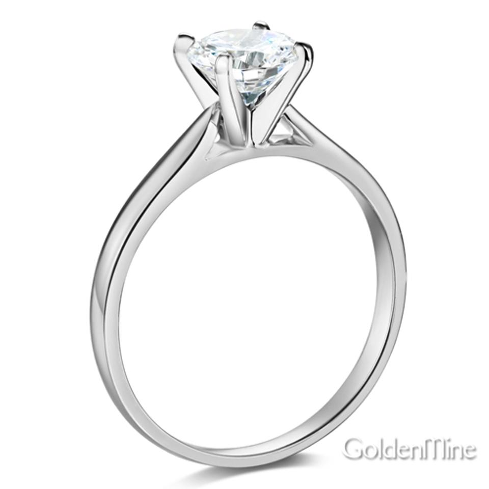 Cathedral 14k White Gold Roundcut 4prong Solitaire Man Made Diamond  Engagement Ring