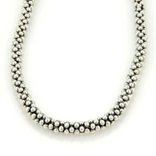 Caviar Sterling Silver 7mm Caviar Beaded Necklace