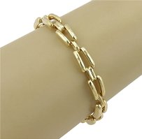 Henry Dunay 18k Yellow Gold Hammered Chain Link Bracelet