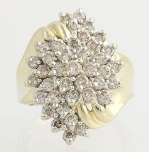 Champagne Diamond Cocktail Ring - 14k Yellow White Gold Tiered Womens 2.00ctw