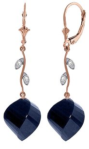 30.52 CT 14k Rose Gold Diamond and Blue Sapphire Earrings